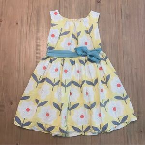 Mini Boden | Yellow Daisy Linen Blend Summer Dress